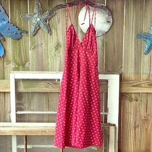 Eva Franco Red Daisy Summer Halter Cotton Dress 4